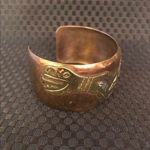 Jewelry - VTG copper cuff with inlay abalone shell Mexico